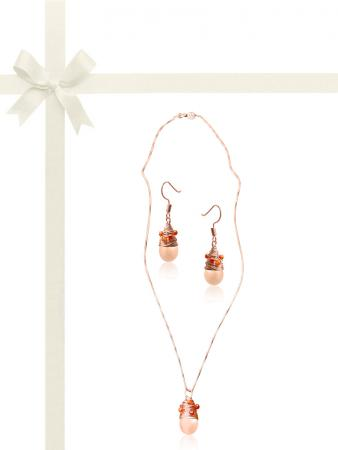 SUNSHINE COAST COLLECTION St. Tropez Brilliant Cut Amber Zircon Studded Peach Pearl Gift Set