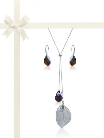 SUNSHINE COAST COLLECTION Black Coin Pearl Gift Set in 18K White Gold
