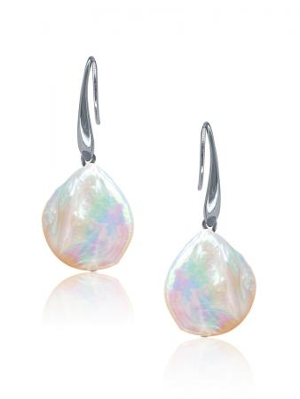 SUNSHINE COAST COLLECTION White Coin Pearl Earrings in 18K White Gold