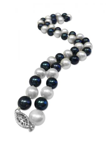 PACIFIC PEARLS MARIA-THERESA REEF COLLECTION Black & White 9-10mm Pearl Necklace