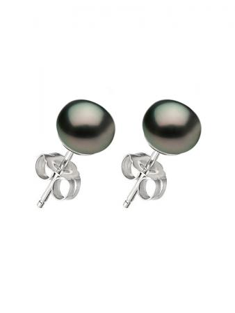 PACIFIC PEARLS BORA BORA COLLECTION Black Pearl Stud Earrings on 14K White Gold Filled Posts