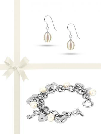 ROSE ATOLL COLLECTION White Pearl Bracelet & Earring Gift Set