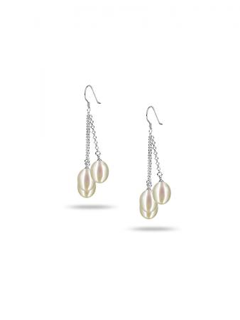 PACIFIC PEARLS SULU SEA COLLECTION White Triple Drop Pearl Earrings