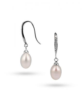 PACIFIC PEARLS SULU SEA COLLECTION White Diamond Drop Pearl Earrings