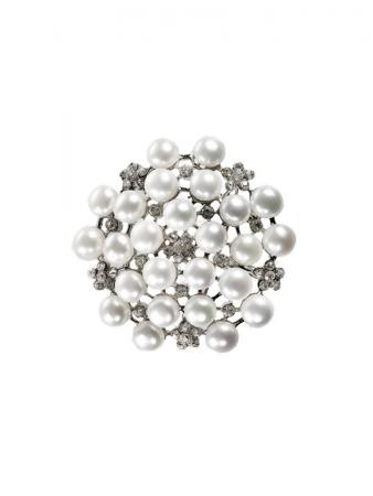 PACIFIC PEARLS TARA ISLAND COLLECTION Diamond Encrusted White Pearl Brooch